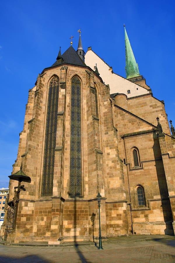 Cathedral of Saint Bartholomew, old architecture, Pilsen, Czech Republic stock photos
