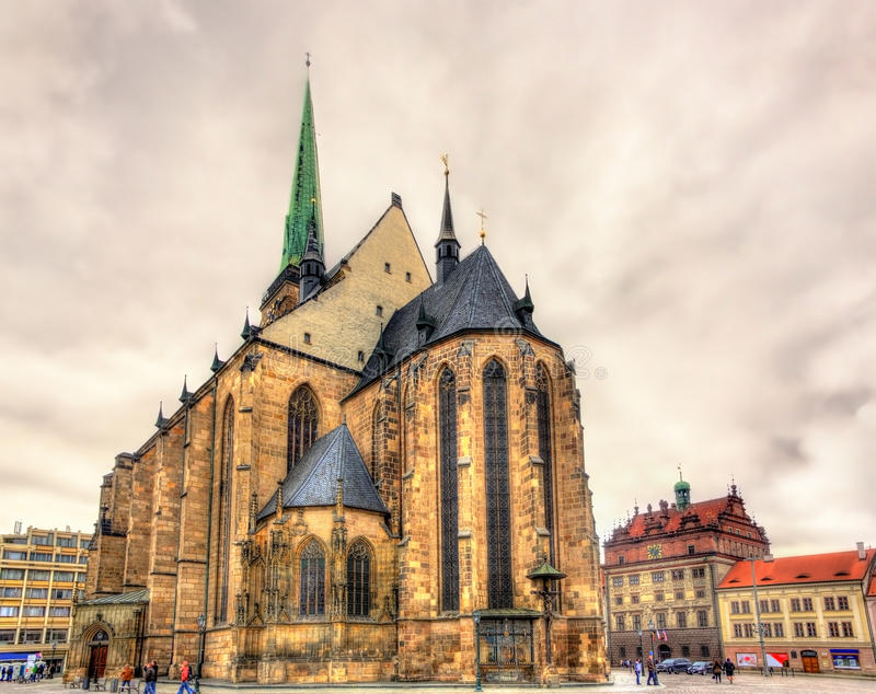 Cathedral of Saint Bartholomew in Pilsen royalty free stock image