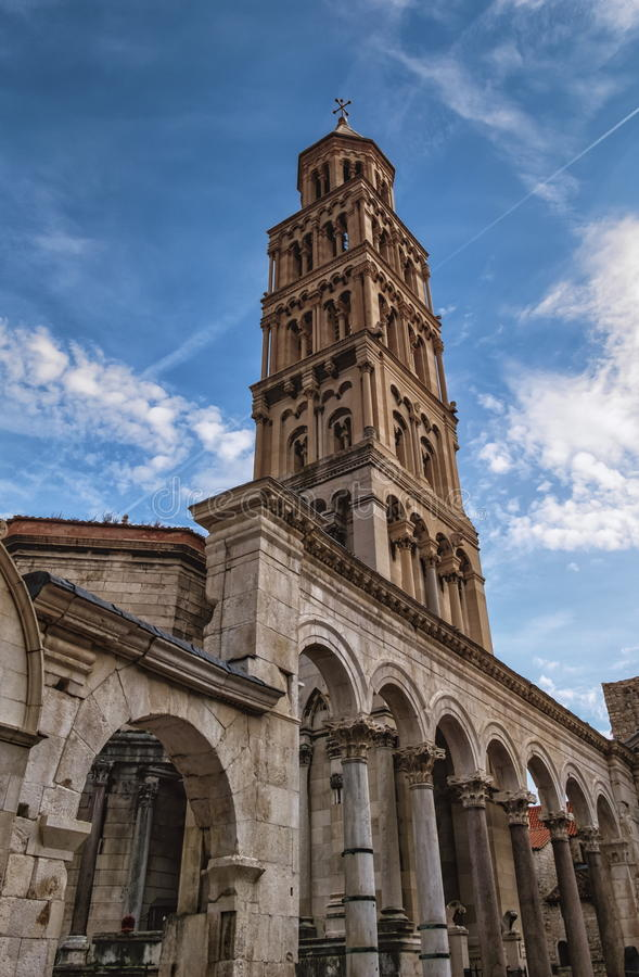 Cathedral of Saint Domnius, Dujam, Duje, bell tower in old town, Split, Croatia. Cclose up on Cathedral of Saint Domnius, Dujam, Duje, bell tower in old town stock photography