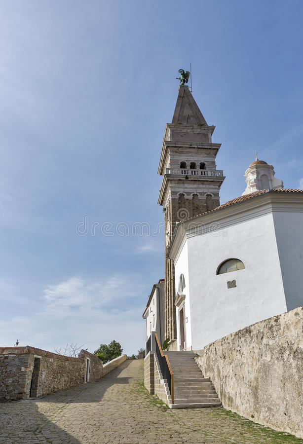 Cathedral of Saint George in Piran, Slovenia. royalty free stock photography