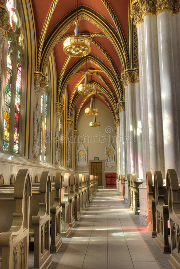 Cathedral Of Saint Helena. Interior view of the Cathedral of Saint Helena in downtown Helena, Montana. The architect of this cathedral was trained abroad and was royalty free stock image