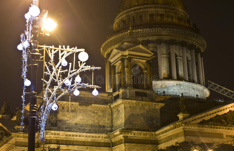 Cathedral of Saint Isaac and electric garland, St. Petersburg royalty free stock image