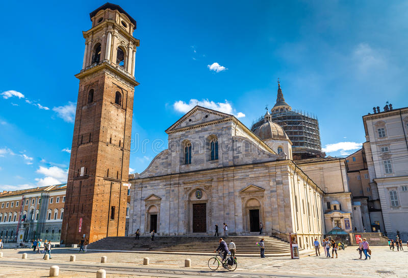 Cathedral of Saint John the Baptist -Turin, Italy. Beautiful View of Cathedral of Saint John the Baptist During Summer Day-Turin, Italy, Europe royalty free stock images