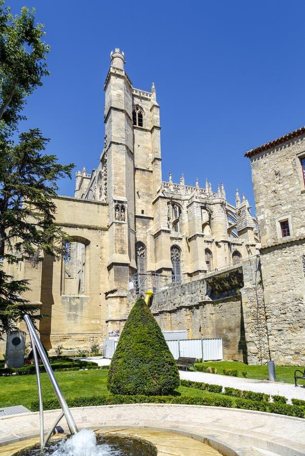 Cathedral of Saint Just et Saint Pasteur. Narbonne France. Narbonne - France, July 17, 2016: Cathedral of Saint Just et Saint Pasteur built in the 13th century royalty free stock images