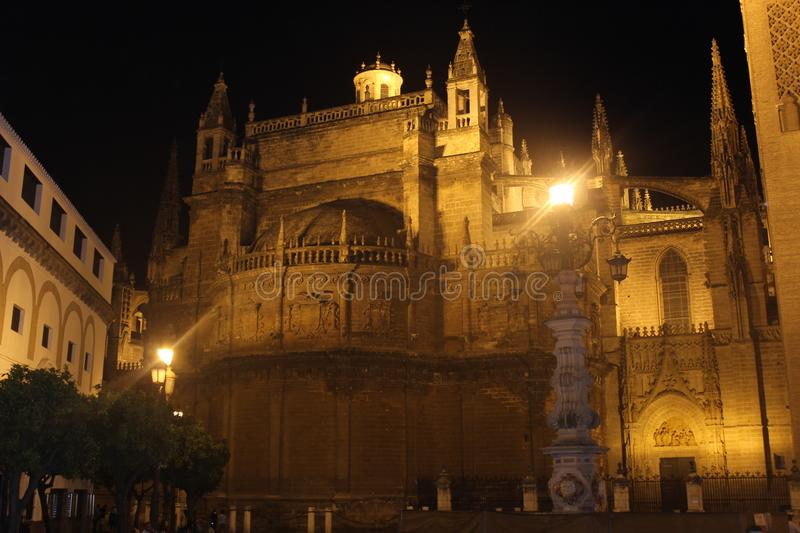 Seville cathedral, Andalusia, Spain. Night. royalty free stock image
