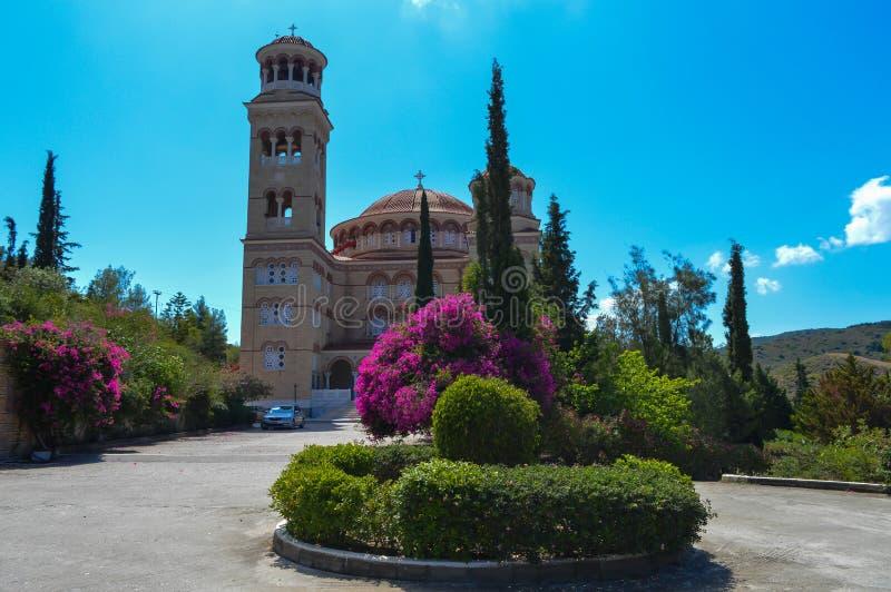 Cathedral Of Saint Nectarios in Aegina Island, Greece on June 19, 2017. AEGINA, GREECE - JUNE 19: Cathedral Of Saint Nectarios in Aegina Island, Greece on June stock images