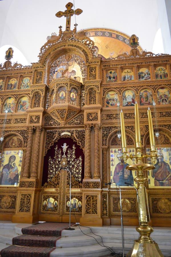 Cathedral Of Saint Nectarios in Aegina Island, Greece on June 19, 2017. AEGINA, GREECE - JUNE 19: Cathedral Of Saint Nectarios in Aegina Island, Greece on June royalty free stock photos