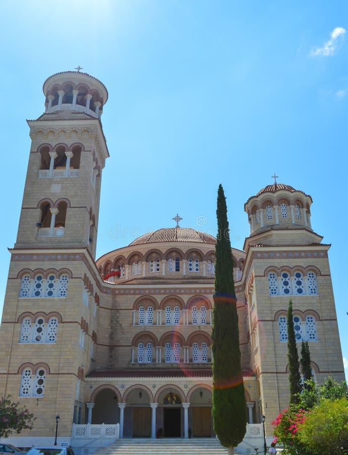 Cathedral Of Saint Nectarios in Aegina Island, Greece on June 19, 2017. AEGINA, GREECE - JUNE 19: Cathedral Of Saint Nectarios in Aegina Island, Greece on June stock photo