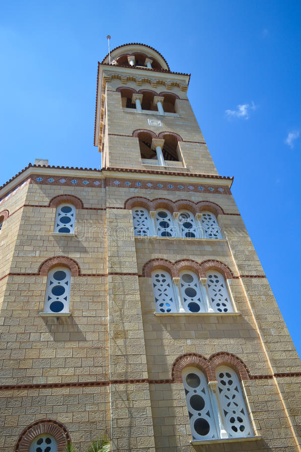 Cathedral Of Saint Nectarios in Aegina Island, Greece on June 19, 2017. AEGINA, GREECE - JUNE 19: Cathedral Of Saint Nectarios in Aegina Island, Greece on June royalty free stock photo