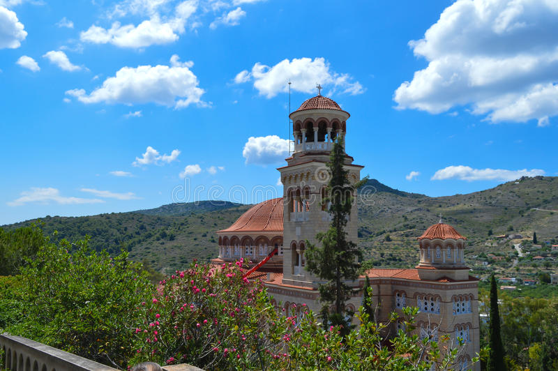 Cathedral Of Saint Nectarios in Aegina Island, Greece on June 19, 2017. AEGINA, GREECE - JUNE 19: Cathedral Of Saint Nectarios in Aegina Island, Greece on June stock photography