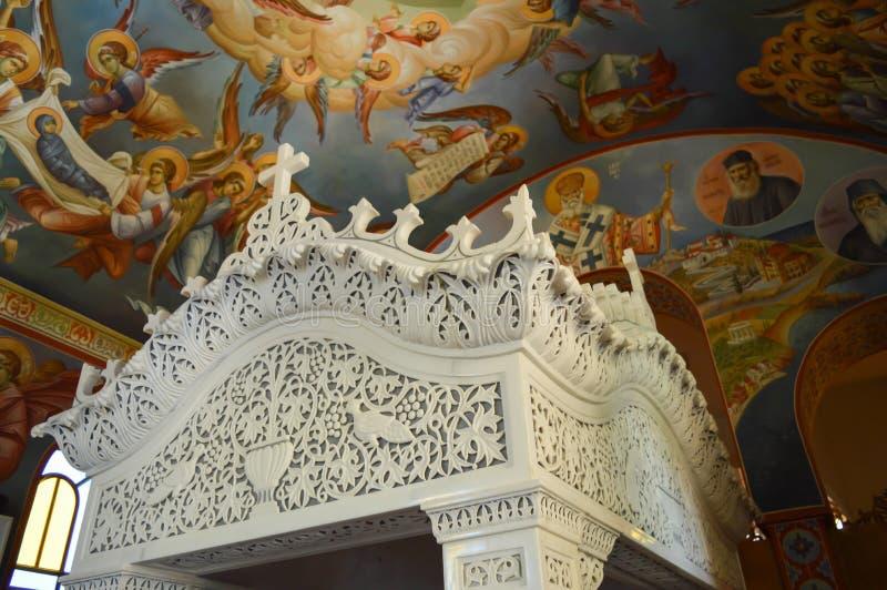 Cathedral Of Saint Nectarios in Aegina Island, Greece on June 19, 2017. AEGINA, GREECE - JUNE 19: Cathedral Of Saint Nectarios in Aegina Island, Greece on June stock image