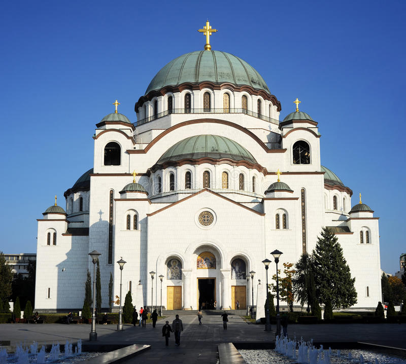The Cathedral of Saint Sava or Saint Sava Temple. BEOGRAD, SERBIA - OCTOBER 28: The Cathedral of Saint Sava or Saint Sava Temple on October 28 in Beograde. Saint royalty free stock photography