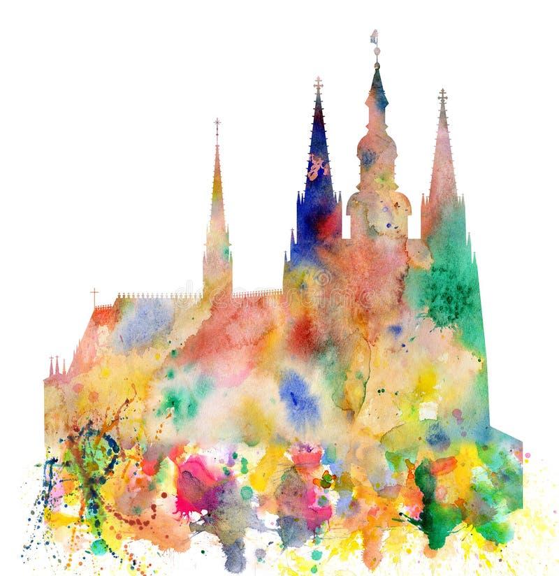 Cathedral of Saint Vitus in the Prague Castle Watercolor Art. Cathedral of Saint Vitus in the Prague castle, Prague, Czech Republic stock illustration