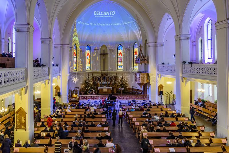 Cathedral of Saints Peter and Paul before the concert. Moscow, Russia. Moscow, Russia-January, 3, 2019: Cathedral of Saints Peter and Paul before the concert royalty free stock image