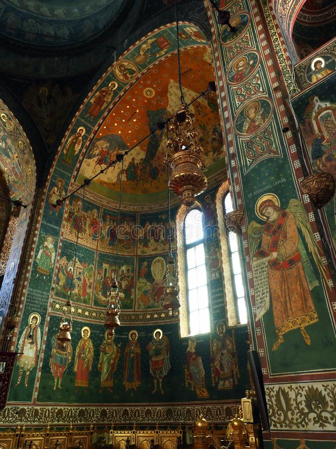 Cathedral of Saints Peter and Paul, Constanta, Romania. Ornate interior of the  Eastern Orthodox Cathedral of Saints Peter and Paul,Constanta.  Ornate, colourful royalty free stock images