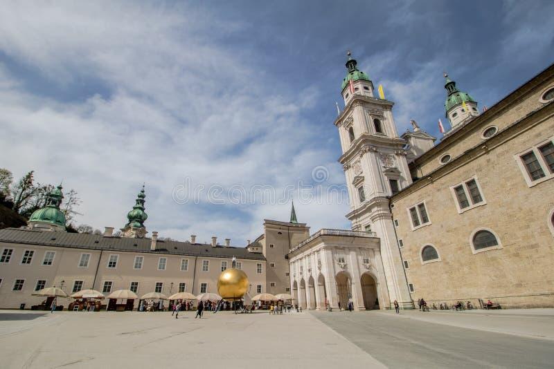 Salzburg Cathedral Dom zu Salzburg in spring, Austria stock images