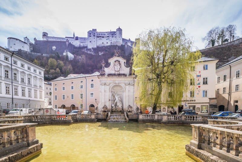 Salzburg Cathedral Dom zu Salzburg in spring, Austria stock photos