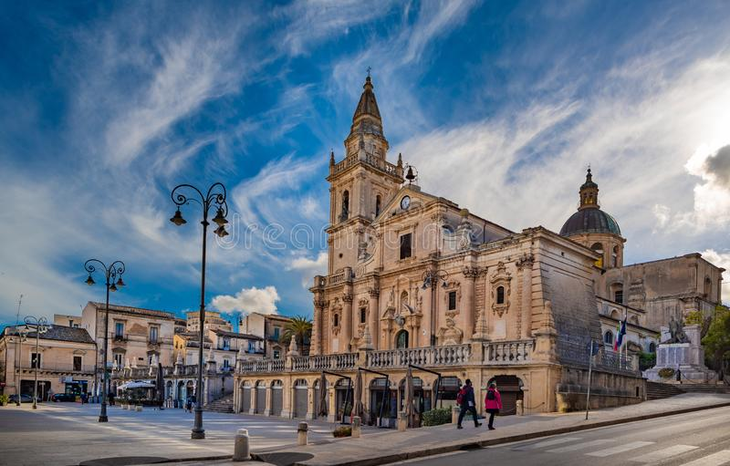 Cathedral of San Giovanni Battista in the baroque town Ragusa in Sicily, Italy royalty free stock images