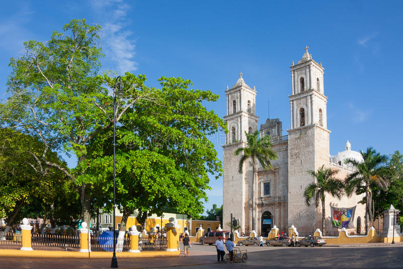 Cathedral of San Ildefonso Merida capital of Yucatan Mexico. Cathedral of San Ildefonso in the central square Merida capital of Yucatan Mexico stock images
