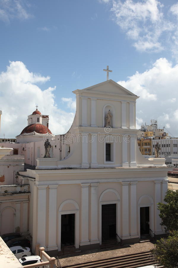 Cathedral of San Juan Bautista, San Juan. The cathedral is one of the oldest buildings in San Juan, located in Old San Juan, and is the second oldest cathedral stock photo
