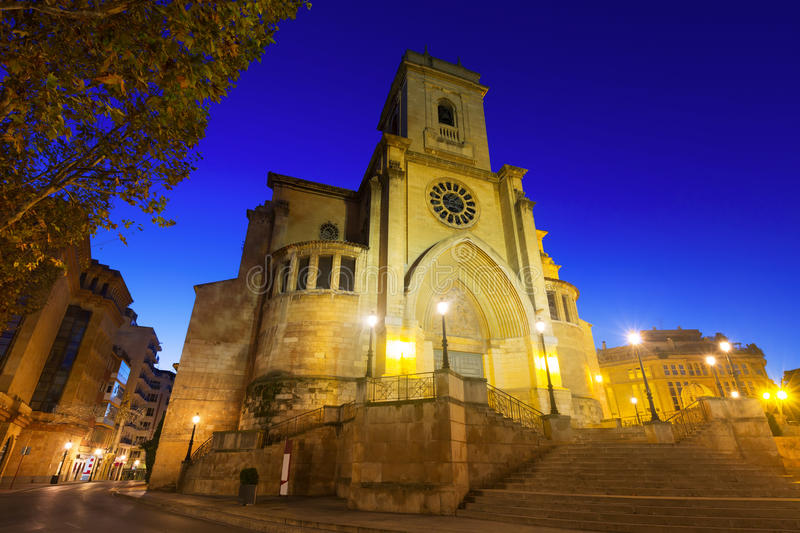 Cathedral of San Juan de Albacete in early morning. Wide angle shot of Cathedral of San Juan de Albacete in early morning. Castile-La Mancha, Spain stock photography
