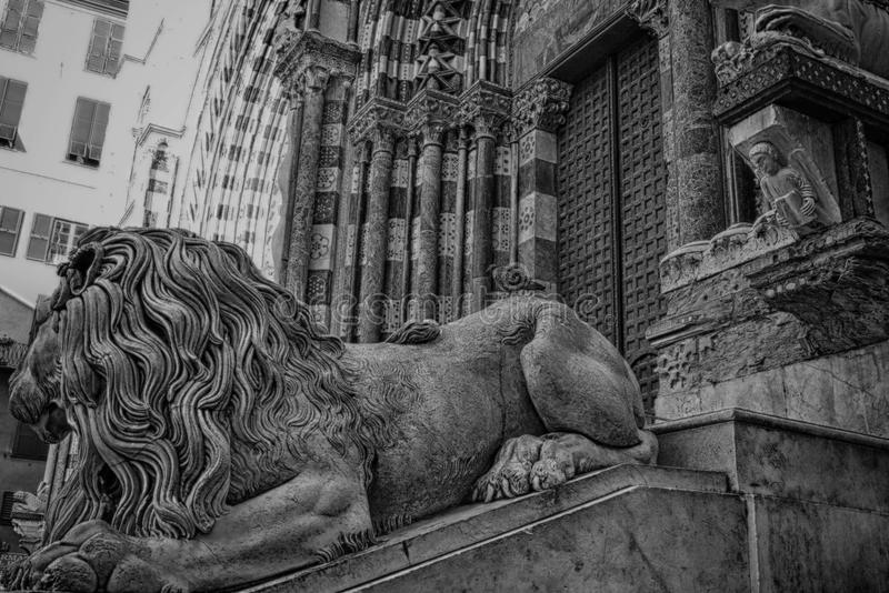 Cathedral of San Lorenzo,Genoa,Italy. Statue of a lion royalty free stock photos