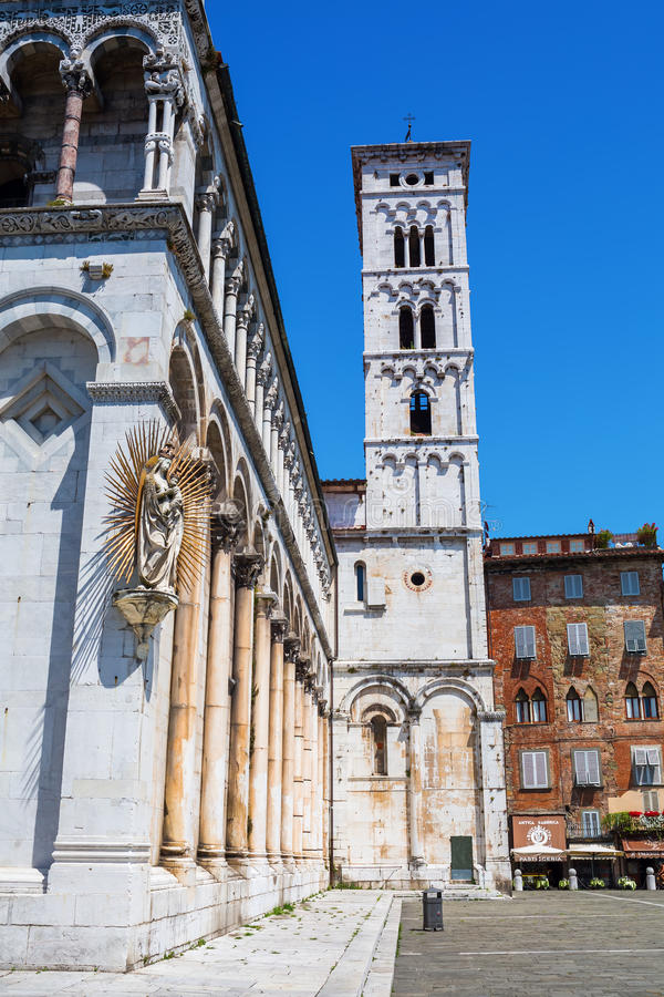 Cathedral San Michele in Foro in Lucca, Italy stock photos