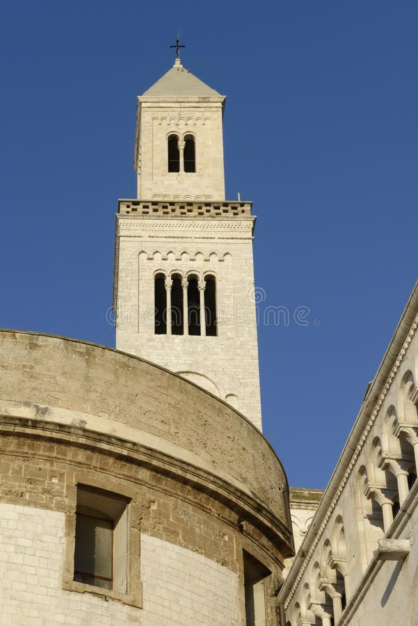 Bari, italy: Cathedral of San Sabino. Lateral image of Bari Cathedral or Duomo di Bari, dedicated to Saint Sabinus, in Apulia, Italy. The present building was royalty free stock photos