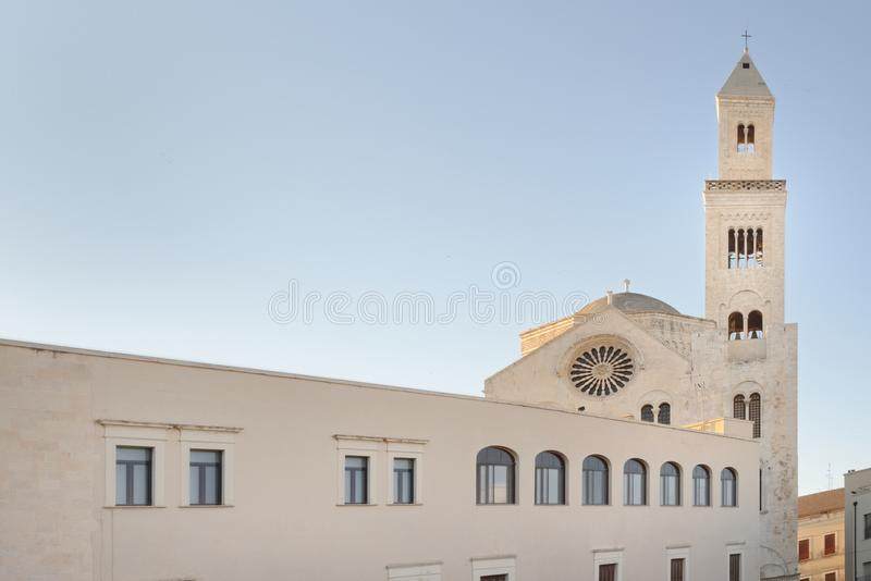 Bari, italy: Cathedral of San Sabino. Lateral image of Bari Cathedral or Duomo di Bari, dedicated to Saint Sabinus, in Apulia, Italy. The present building was royalty free stock photography