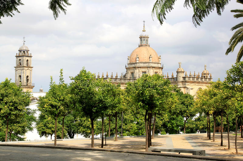 Cathedral of San Salvador, Jerez de la Frontera. The Cathedral of San Salvador is the cathedral church of the Roman Catholic Diocese of Asidonia-Jerez in Jerez stock images
