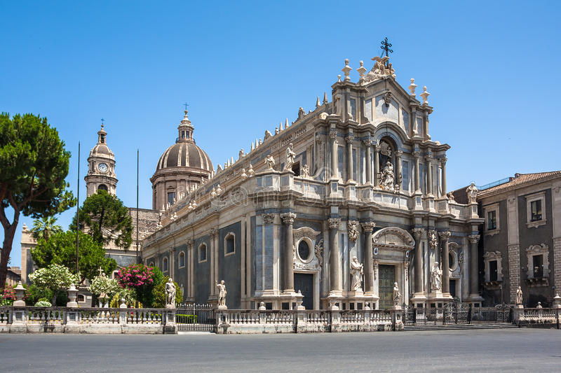 Cathedral of Santa Agatha in Catania in Sicily. Piazza del Duomo in Catania with the Elephant Statue and the Cathedral of Santa Agatha in Catania in Sicily royalty free stock photography