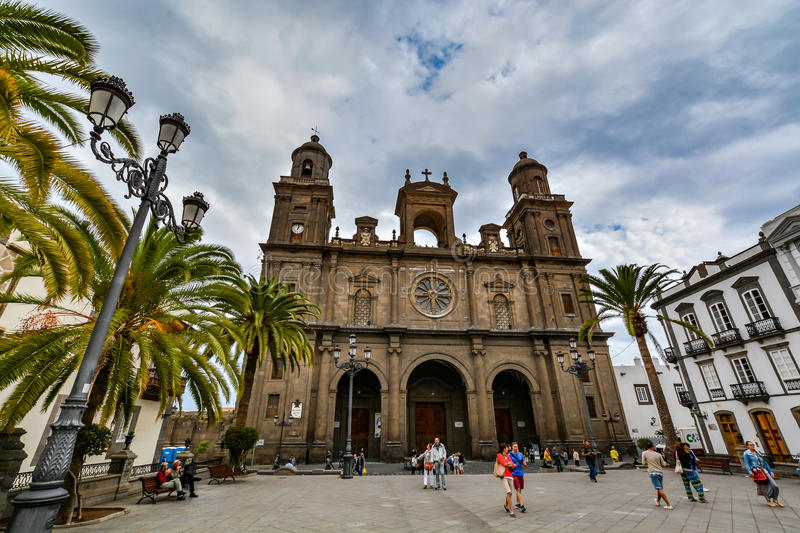 Cathedral of Santa Ana (Holy Cathedral-Basilica of the Canaries) in Las Palmas, view from the main square of Vegueta. Gran Canaria (Grand Canary), Spain royalty free stock photography