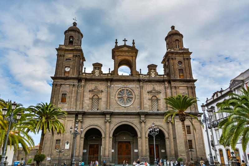 Cathedral of Santa Ana (Holy Cathedral-Basilica of the Canaries) in Las Palmas, view from the main square of Vegueta. Gran Canaria (Grand Canary), Spain stock images