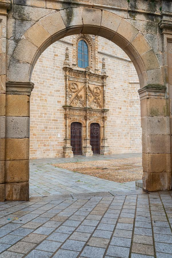 Cathedral of Santa Maria de la Asuncion in Coria, Caceres, Extremadura, Spain.  stock photo