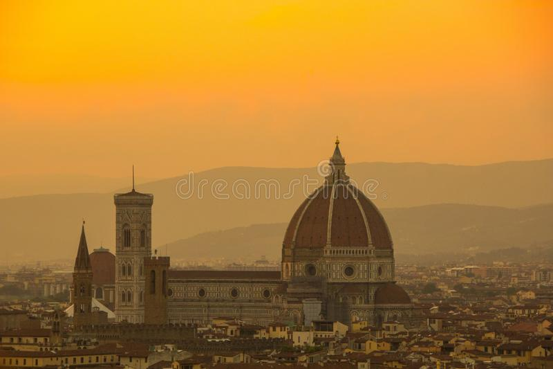 Cathedral of Santa Maria del Fiore Duomo. Amazing evening golden hour light. View from Piazzale Michelangelo. stock photos