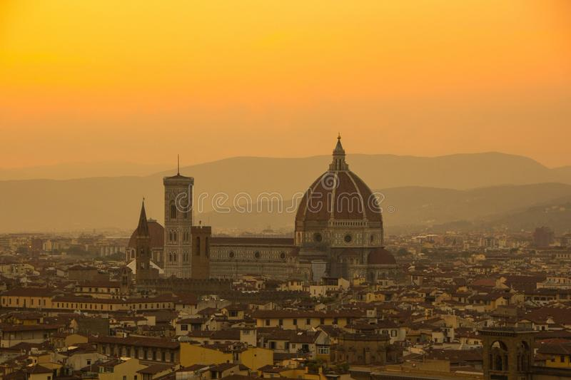 Cathedral of Santa Maria del Fiore Duomo. Amazing evening golden hour light. View from Piazzale Michelangelo. royalty free stock images