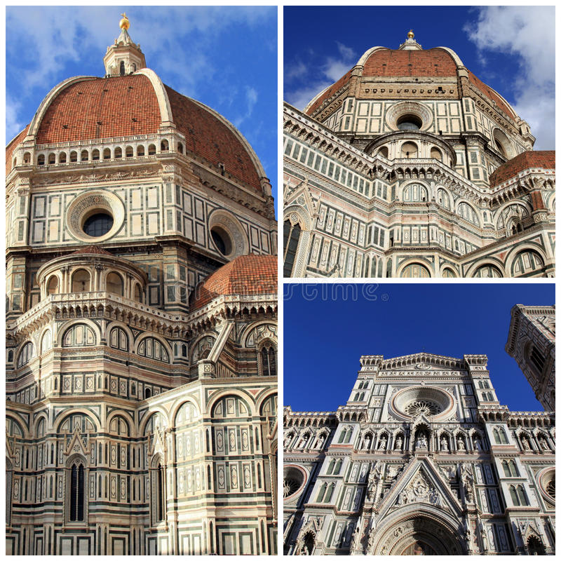 Cathedral of Santa Maria del Fiore, Florence, Italy. Travel photo collage royalty free stock photos