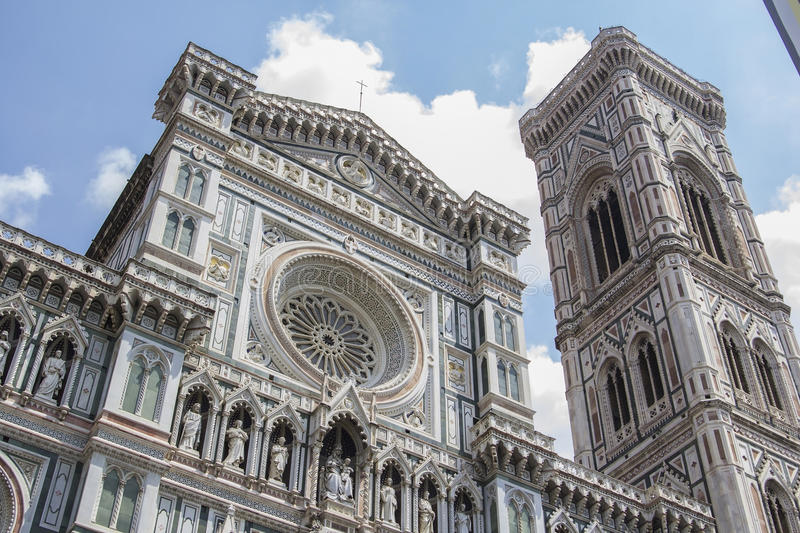 Cathedral of Santa Maria del Fiore and kampanilla Giotto in Florence. Facade of the cathedral of Santa Maria del Fiore and kampanilla Giotto in Florence royalty free stock images