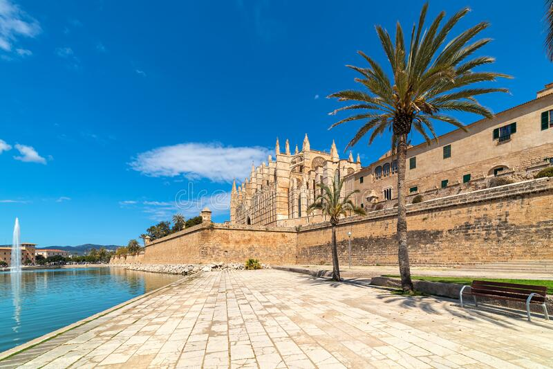 Cathedral of Santa Maria of Palma under blue sky. stock images