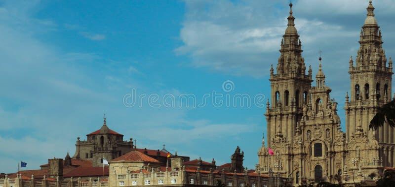 Cathedral, Santiago de Compostela, blue sky stock images