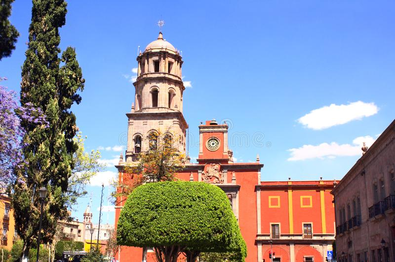 Cathedral in Santiago de Queretaro, Mexico. Cathedral and belltower in Santiago de Queretaro, Mexico, North America. Summer day royalty free stock image