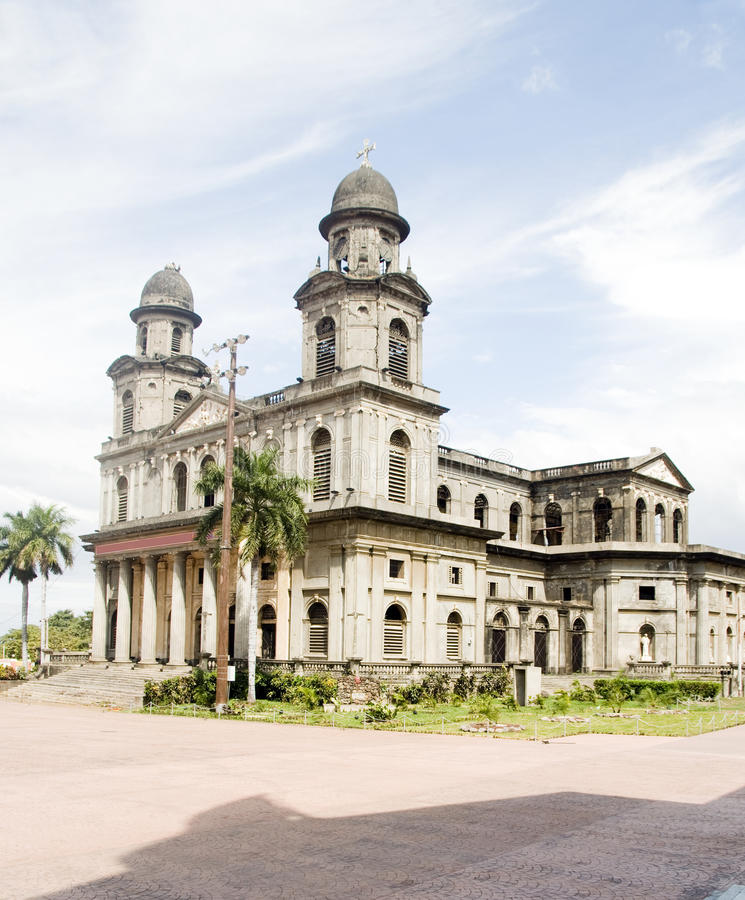 Cathedral of Santiago Managua Nicaragua. On Plaza of the Revolution royalty free stock photography