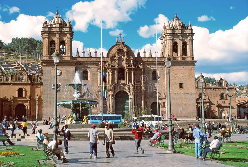 Cathedral of Santo Domingo, Cuzco, Perù. The cathedral is located on the main road of Cusco, Peru, called the Avenida de Sol. Building was completed in 1654 royalty free stock image