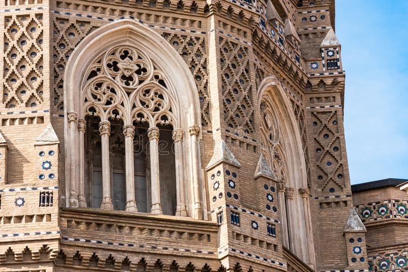 The Cathedral of the Savior or Catedral del Salvador in Zaragoza, Spain. Close-up. stock photography