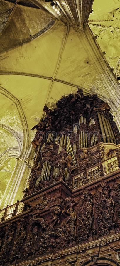 The Organ of the Cathedral in Seville in Andalucia Spain. Cathedral of Seville. It is amongst the largest of all medieval and Gothic cathedrals, The interior is royalty free stock images