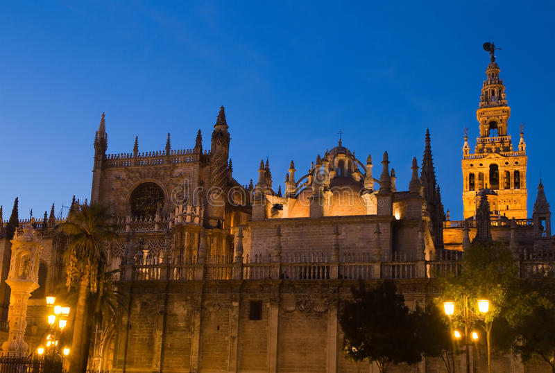 Cathedral of Seville at sunset royalty free stock image