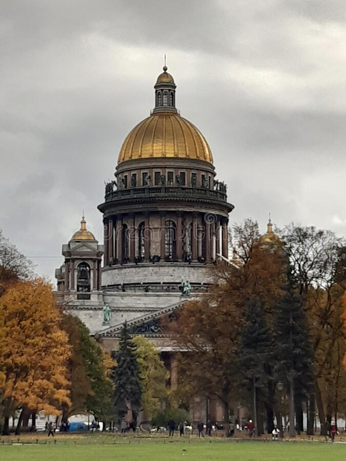 The Cathedral and the Sky. Grey sky and the Cathedral in Saint Petersburg. A magnificent Cathedral in a legendary city. Grey sky and the Cathedral in Saint royalty free stock photos