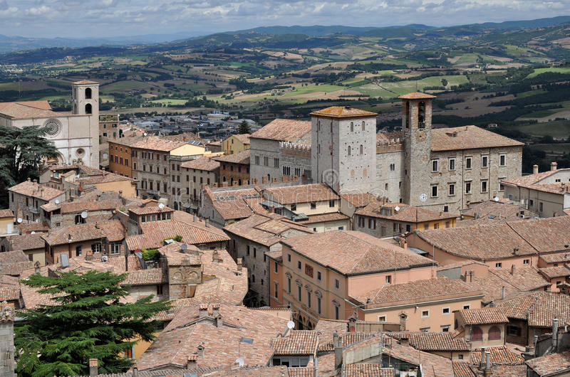 Cathedral square aerial view, todi. Aerial view of medieval city center and cathedral square shot in sunny summer weather stock images