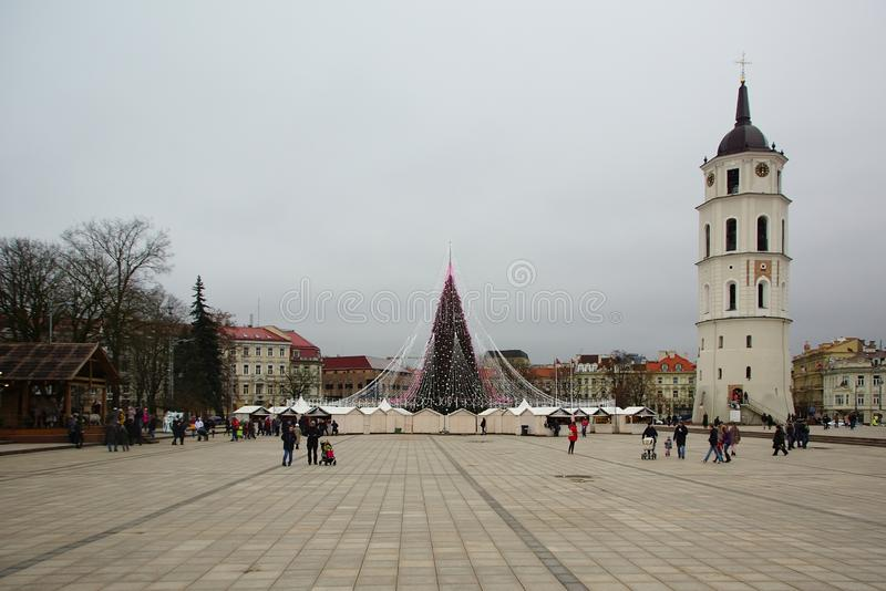 The Cathedral Square, the bell tower and the main New Year`s city tree royalty free stock images