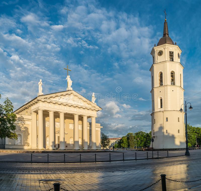 The Cathedral Square and bell tower in Vilnius. Lithuania. 2016.06.11.  stock image